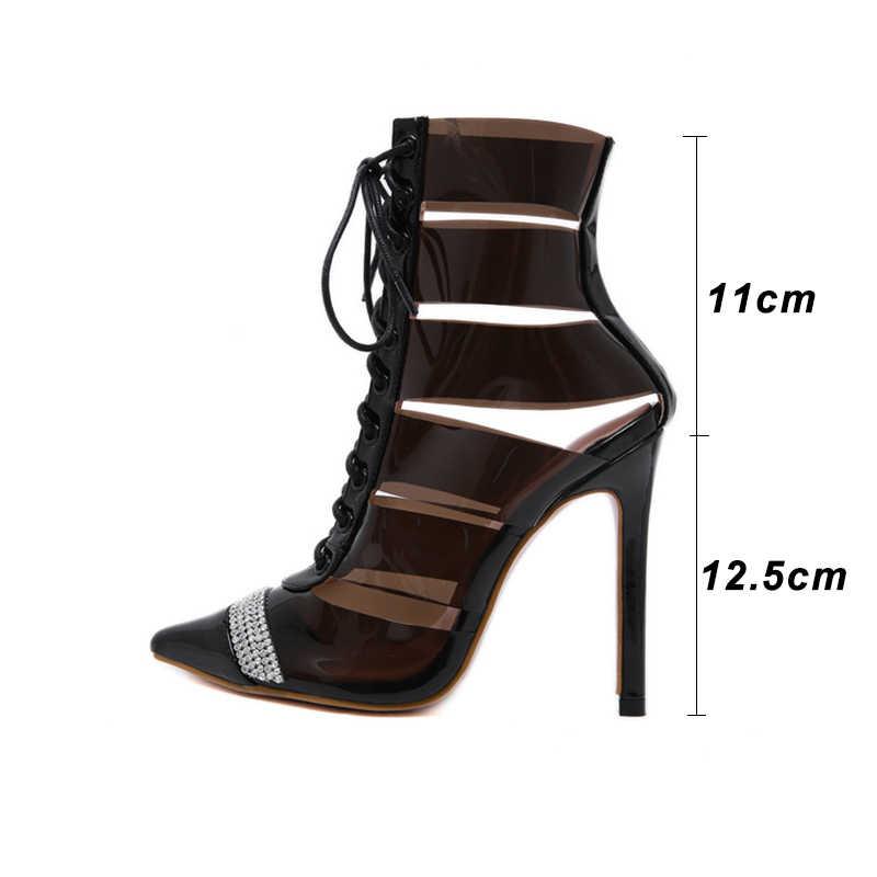 Kcenid 2020 Nieuwe transparant runway laarzen vrouwelijke hoge hakken sandalen laarzen lace-up uitsnede rhinestone puntschoen sexy schoenen zwart