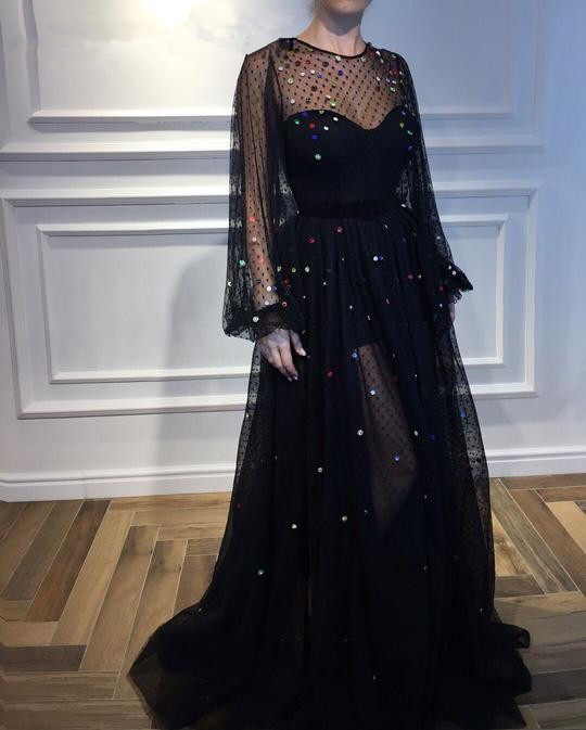 Black 2019 Muslim   Evening     Dresses   A-line Long Sleeves Tulle Crystals Formal Dubai Saudi Arabic Long   Evening   Gown Prom