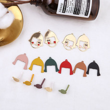2pcs diy handmade jewelry accessories funny avatar fashion pendant round earrings earrings alloy spray paint