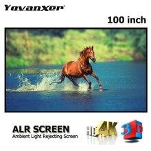 100 Inch 16:9 Grey Crystal Slim Frame Alr Projectiescherm High Class Anti Licht Projector Schermen Grijs Ultra Smalle grens