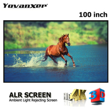 100 Inches 16:9 Grey Crystal Slim Frame ALR Projection Screen High Class Anti Light Projector Screens Gray Ultra Narrow Border