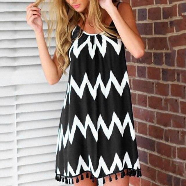 Summer Beach Camis Mini Dress For Women's Plus Size Dresses Sexy Stripe Tassel Strap Sleeveless Dress 2020 Fashion Holiday Party 1