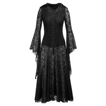 Gothic Vintage Medieval Irregular Floral Lace Black Hooded Maxi Dress Single Breasted Bell Sleeve Sexy Hollow Ruffle Goth Robe ruffle detail bell sleeve floral top