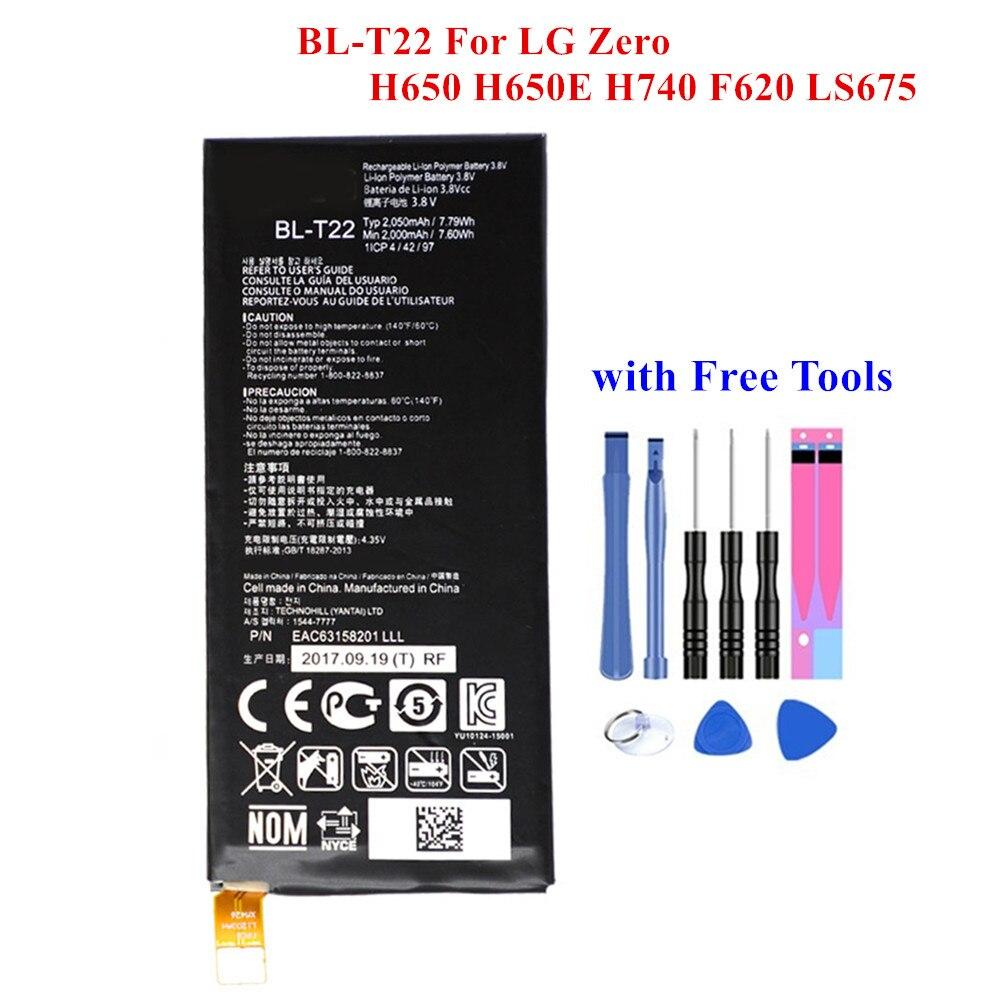 Nouvelle batterie de rechange BL-T22 pour LG Zero H650 H650E H740 F620 LS675 F620L F620K 2000/2050mAh haute qualité Batteria Akku + outils