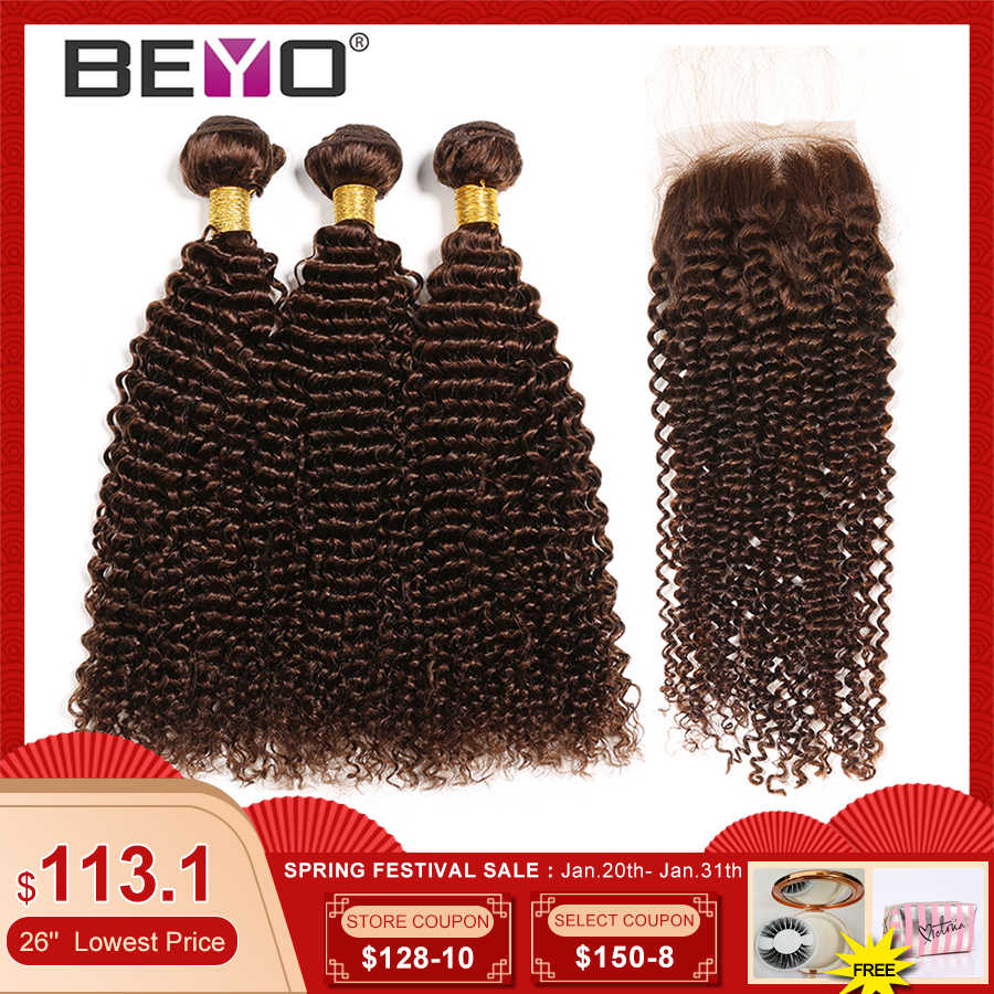 Pre-Colored #4 Kinky Curly Bundles With Closure Brazilian Hair Weave Bundles 100% Human Hair Bundles With Closure Beyo Non Remy