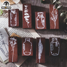 Mr. Paper Flower in a Bottle Series Plant Bottle Seal Wooden Rubber Stamp Used for Scrapbook Decoration DIY Craft Wooden Stamp