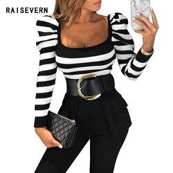 Sexy Deep Square Neck Striped Rib Knit T-Shirt Puff Sleeve Black White Slim Fit Women Long Sleeve Casual T Shirt Drop Shipping