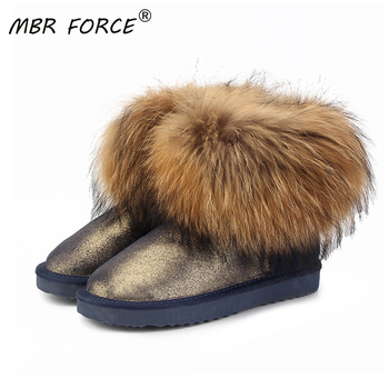 MBR FORCE Top Fashion Women Natural Fox Fur Snow Boots 100% Genuine Cow Leather Winter Boots Female Winter Shoes Women  Boots allbitefo natural genuine leather snake texture cow leather women ankle boots fashion sexy motorcycle boots girls winter shoes