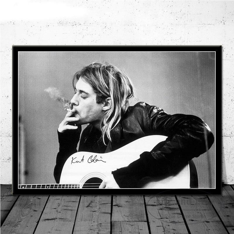 Kurt Cobain Rock müzik grubu müzik şarkıcı yıldız duvar sanat resmi posterler ve baskılar tuval boyama odası ev dekor