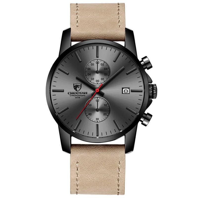 Reloj de cuarzo de marca de lujo CHEETAH para hombre, Relojes de Cuero para hombre, reloj de pulsera impermeable para hombre