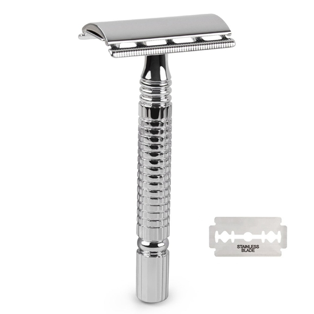 Double Edge Razor Wet Shaving For Men Women Classic 3-Piece Stainless Steel Safety Razor 1