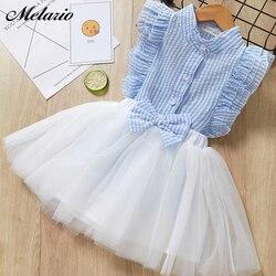 Meninas casuais conjuntos de roupas novo verão listra impressão camiseta saia terno rendas crianças meninas roupas bonito duas peças terno