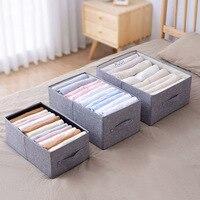 Caja de almacenamiento de algodón y lino de gran capacidad, armario, cajón, ropa interior, organizador de ropa, herramienta de almacenamiento para el hogar