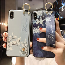 Gaya Cina Bunga Pemegang Ponsel Case untuk iPhone 6S 6 7 Plus 8 P X XR Xsmax Denim Bunga Cincin Gesper Iphone 11pro 11 Promax CAS(China)