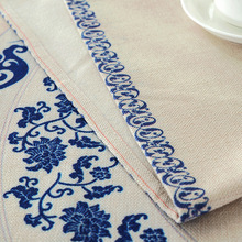 Simplicity Style Blue Flower Tablecloth Round Waterproof Cotton Linen Table Cover Kitchen Wedding Party Decoration