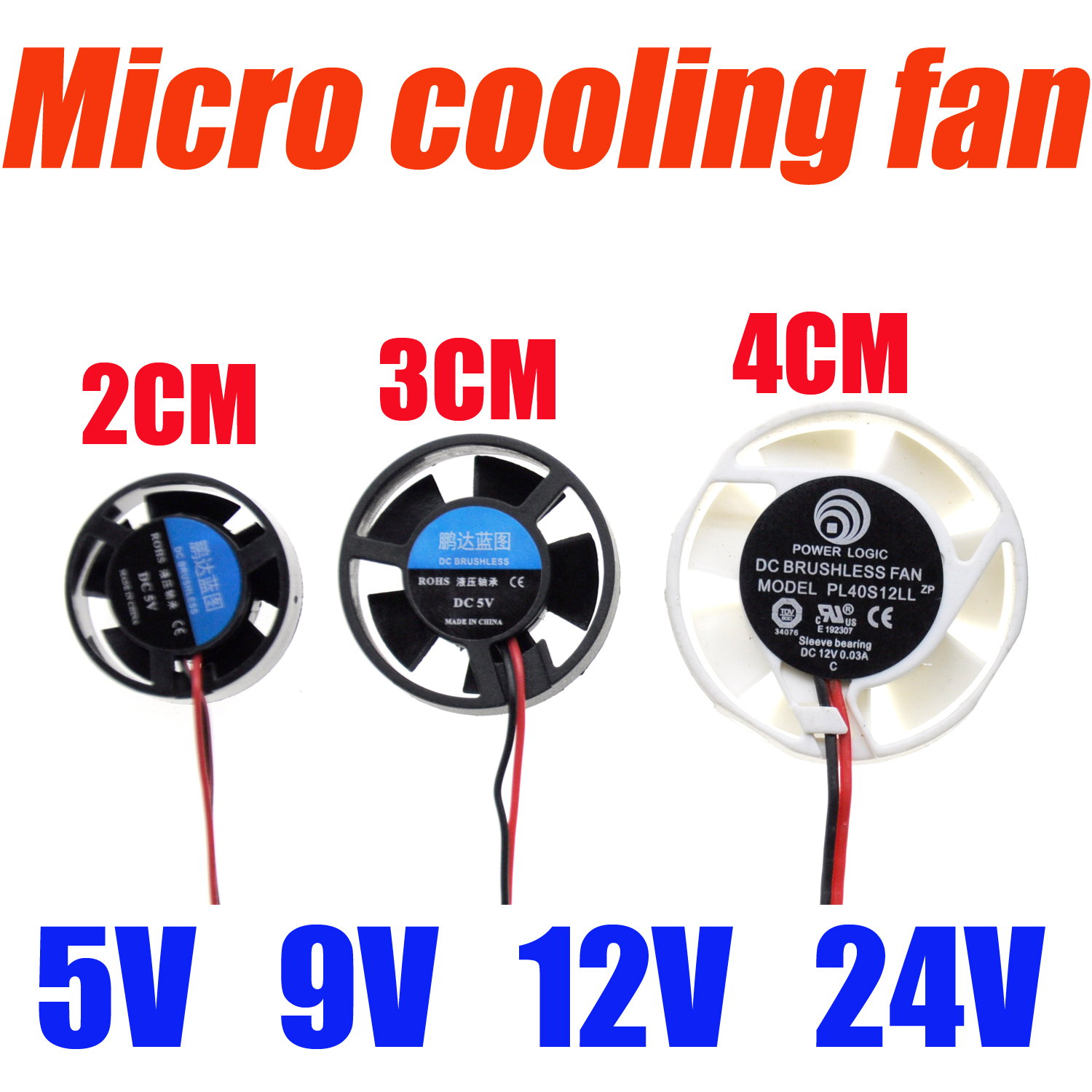<font><b>2CM</b></font> 3CM 4CM 25x10mm 30x10mm 40x10mm 5V 9V 12V 24V Round Mini Micro Cooling <font><b>Fan</b></font> For LED Lamps Computer Radiator image