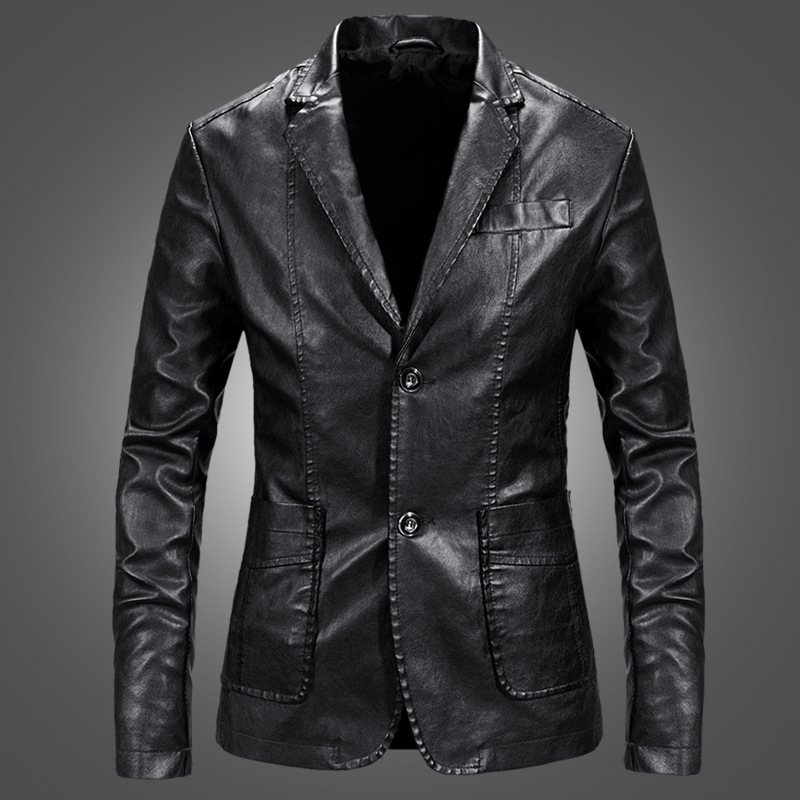 2019 Youth Korean-style Slim Fit Fashion Leather Jacket Coat PU Leather Small Suit Men's