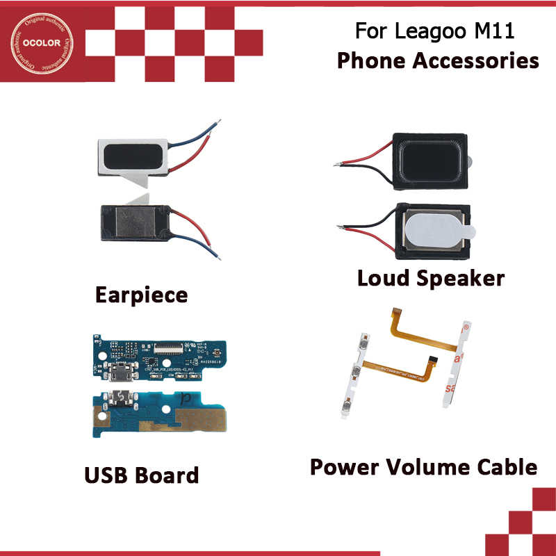 ocolor For Leagoo M11 USB Plug Charge Board Loud Speaker Assembly For Leagoo M11 Earpiece Power Volume Cable Phone Accessories
