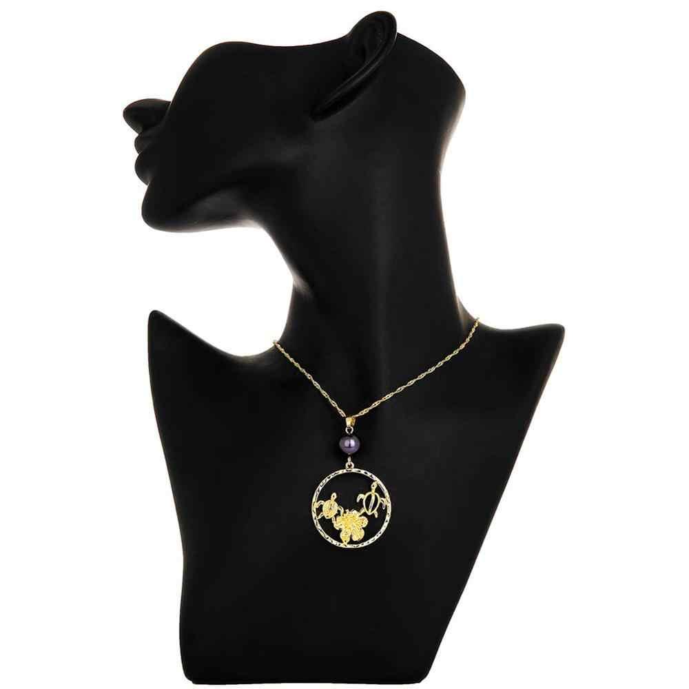 פולינזי הוואי זהב תכשיטים לנשים 2020 חדש ים צב פראנגיפאני תליון שרשראות סטים אופנתיים גדול טבעת עגיל