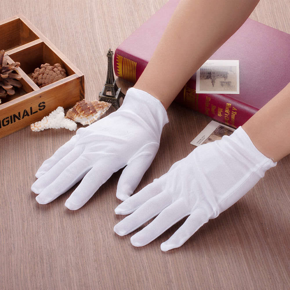 6 Pairs Unisex White 100% Cotton Gloves Antique Eczema Coin Handling Inspection Etiquette Labour Gloves