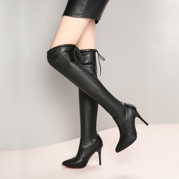 Buty damskie buty na obcasie czerwony spód na buty do kolan skóra moda uroda kozaki damskie rozmiar 35-39 tanie i dobre opinie RZYM YAFUKANO RUBBER Adult Stałe Zima Super Wysokiej (8cm-up) podstawowe Wsuwane Z niewielkim szpicem Za kolana Krótki plusz