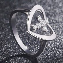 New Fashionable Love Cross Ring With High Quality Zircon Hollow Design Simple Finger Ring For women Jesus Religious Jewelry(China)