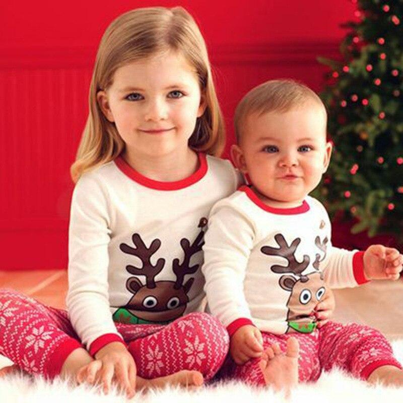 Listrado natal pijamas crianças pijamas manga longa noite ternos para crianças roupas de natal menino da criança meninas roupas de duas peças