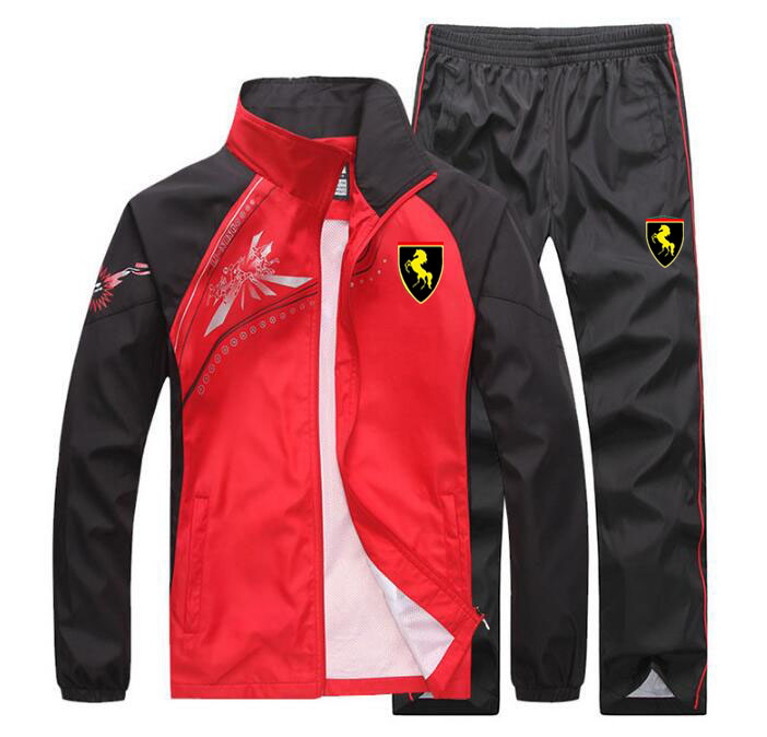 Men Jogging Train TrackSuit Sport Thin Jacket Coat Top Suit Set Trousers Pants Sweats Suits
