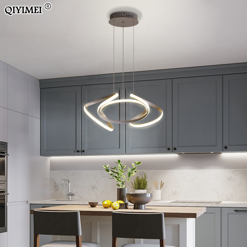 Gray Painted Led Pendant Light For Living Room Bedroom Dimmable With Remote Control Lighting Hanglamp Luminaria Abajur AC85-260V