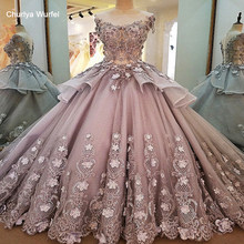 LS00056 evening dresses long flowers zipper back robe de soiree 2018 solde elegant grey ball gown evening dress real photos(China)