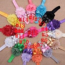 Стиль, европейский и американский стиль, детский головной убор с блестками, бантом, потертыми заусенцами, Цветочная комбинация, детская лента для волос, 15 цветов