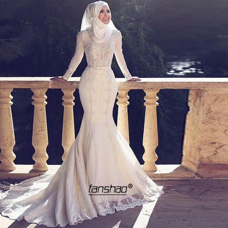 Mermaid Muslim Wedding Dresses Scarf Sweep Train Vestido De Noiva Applique Beaded Dubai Arabic Wedding Gown Bridal Gown Custom