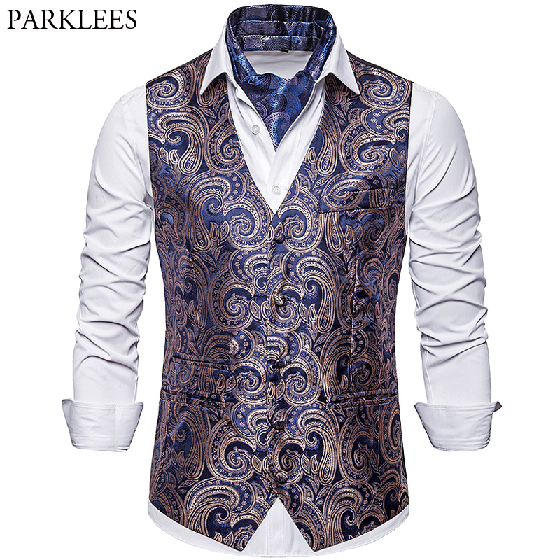Single-Breasted Cashew Flower Priting Suit Vest Men's 2019 New Brand Fashion Slim Fit Wedding Host Party Bar Vests Men Clothing
