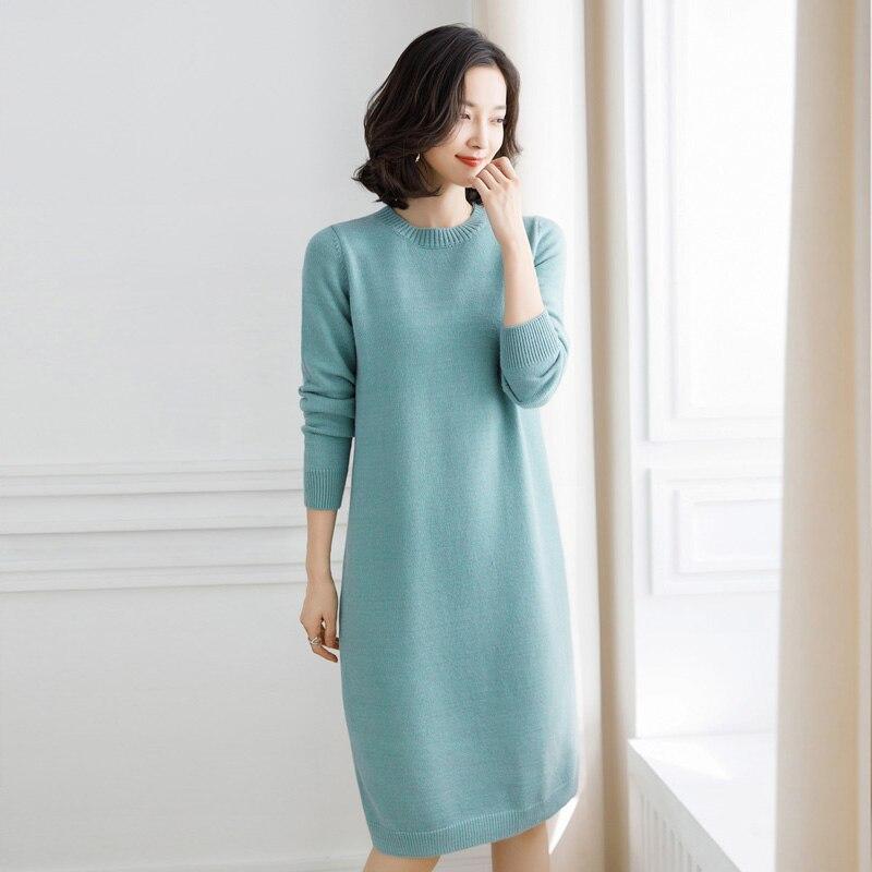 Nouveauté femmes printemps et automne col rond laine pull pulls élégant dames pull robe à manches longues livraison gratuite