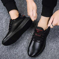 MRCAVE Men Leather Shoes Soft Casual Sneakers Waterproof Running Walking Shoes Anti-slip Sole Breathable Comfort Black Shoes