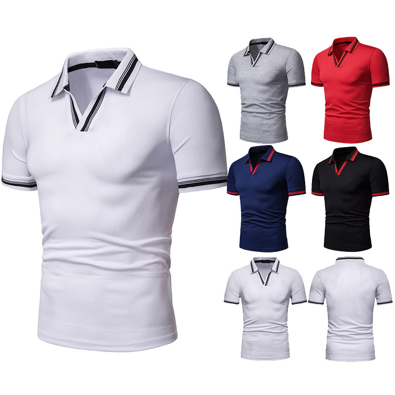 Europe size Henry collar Plaid Men's Cotton POLO shirt Solid Color Ice Cool Touch Fabric Men's Top Fashion 2020 Brand New