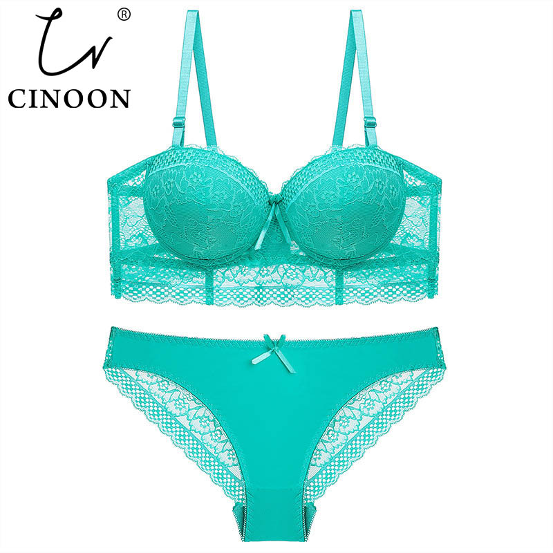 CINOON New Plus Size Underwear Set Women Bra Push Up Brassiere 3/4 Cup Gather Sexy Bra Panties Sets Embroidery Lace Lingerie Set