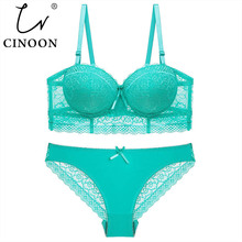 CINOON New Plus Size Underwear Set Women Bra Push Up Brassiere 3/4 Cup Gather Sexy Panties Sets Embroidery Lace Lingerie