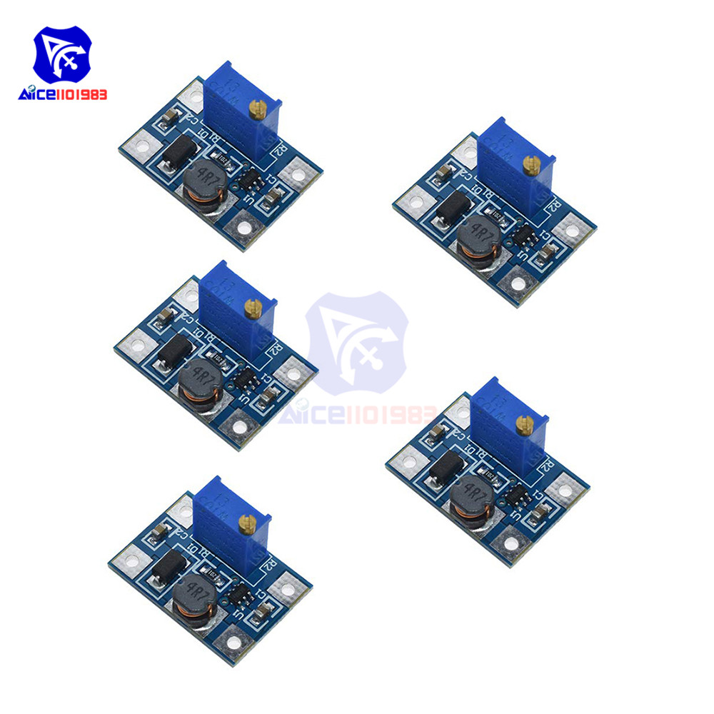 5PCS/Lot SX1308 DC-DC 2-24V To 2-28V Max 2A Step Up Boost Converter Module Adjustable Trimmer Potentiometer For Arduino