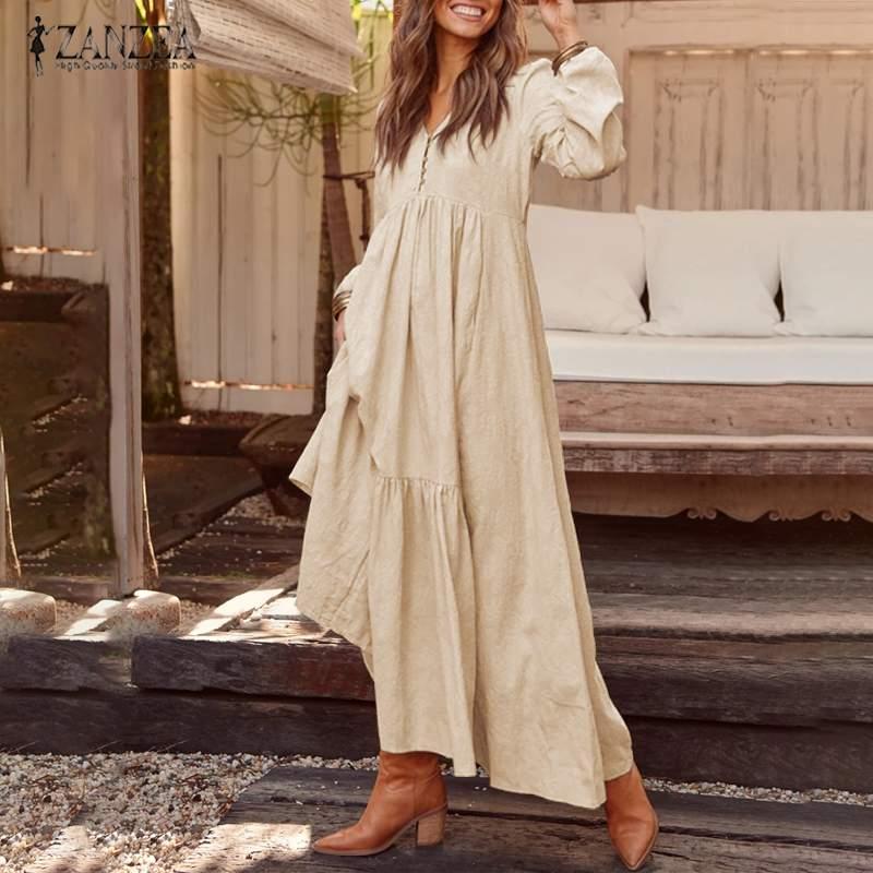 2019 zanzea feminino longo maxi boêmio vestido casual plissado bolsos botões com decote em v vestidos de festa senhoras algodão vestidos longos túnica