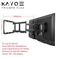 Staffa di montaggio a parete TV 32-80 pollici per TV telaio Full Motion girevole articolato 4 bracci lunghi Max VESA 600x400mm caricamento 100kg