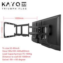 32-80Inch TV Wall Mount Bracket for TVs Full Motion Frame Swivel Articulating 4 Long Arms Max VESA 600x400mm Loading 100kg
