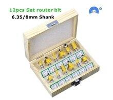 12 Stks/set Houtbewerking Frezen 6.35Mm/8Mm Schacht Carbide Router Bit Voor Hout Graveren Snijgereedschap