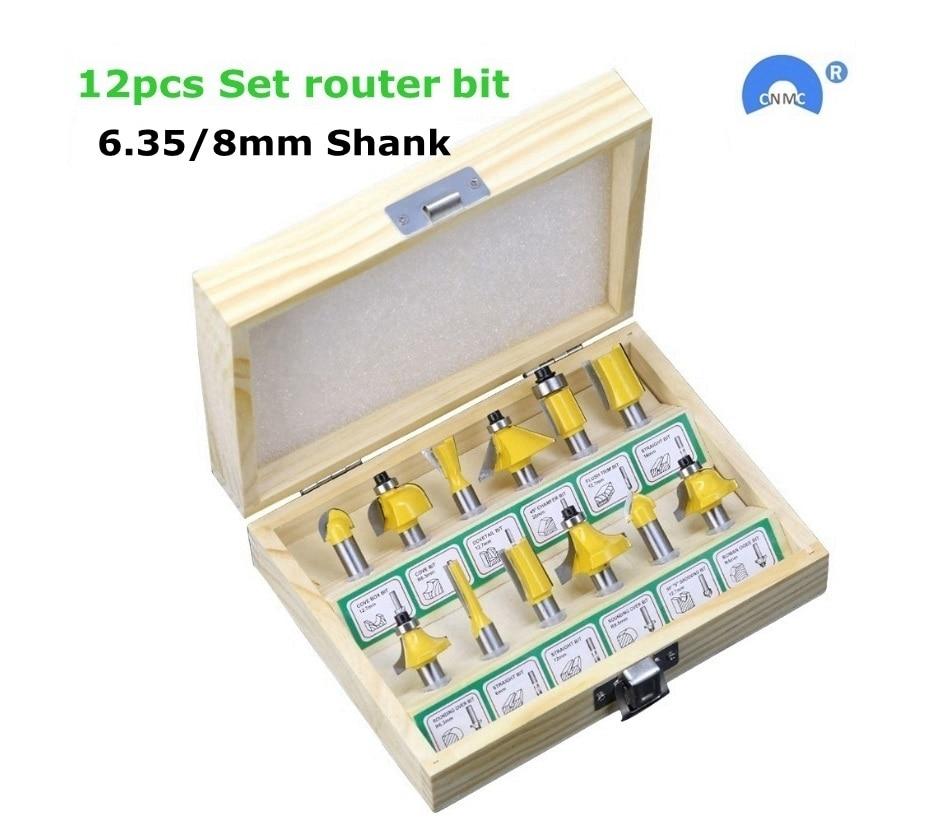 12 sztuk/zestaw do obróbki drewna frezy 6.35mm/8mm Shank frez węglikowy do przyrząd do cięcia drewna grawerowanie narzędzia tnące