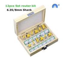 12 sztuk/zestaw frezy do drewna 6.35mm/8mm Shank frez węglikowy do grawerowania drewna narzędzia tnące