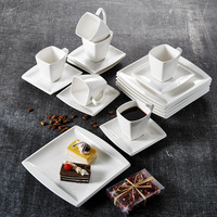 MALACASA Blance 18 Piece White Porcelain Ceramic Coffee Drinkware Sets with Coffee Cups,Saucers and Dessert Plates Service for 6
