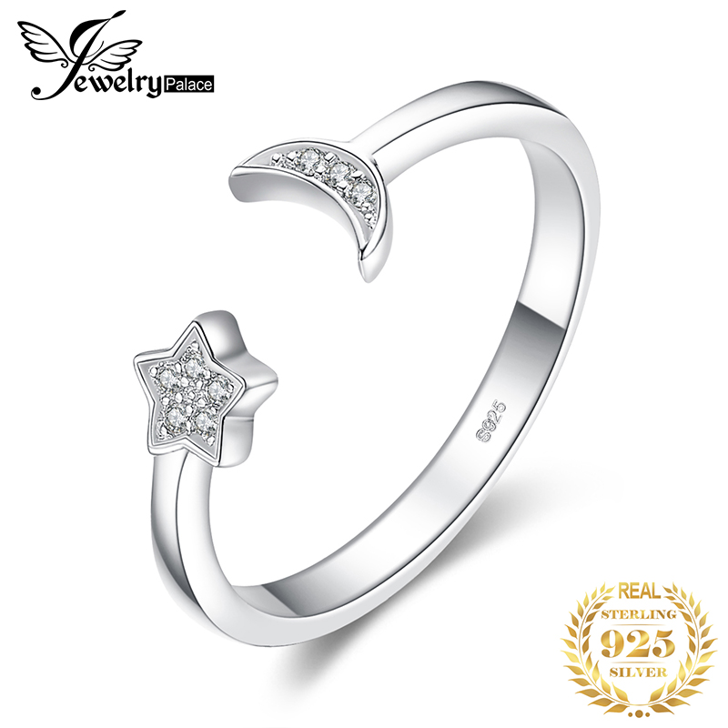 JewelryPalace Moon Star Rings 925 Sterling Silver Rings for Women Open Stackable Ring Band Silver 925 Jewelry Fine Jewelry