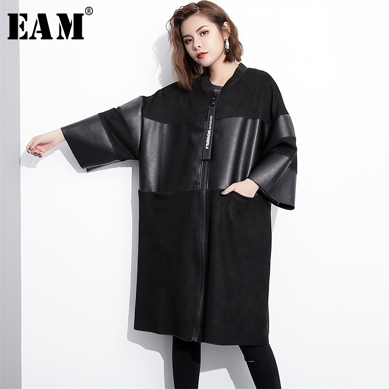 [EAM] Loose Fit Black  Pu Leather Spliced Big Size Jacket New Stand Collar Long Sleeve Women Coat Fashion Autumn 2020 JC2530