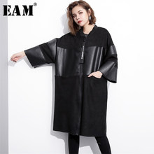 [EAM] Loose Fit Black Pu Leather Spliced Big Size Jacket New Stand Collar Long Sleeve Women Coat Fashion Autumn 2019 JC2530(China)