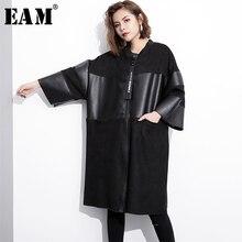 [EAM] Loose Fit שחור עור מפוצל איחה גדול גודל מעיל חדש צווארון עומד ארוך שרוול נשים מעיל אופנה סתיו 2020 JC2530